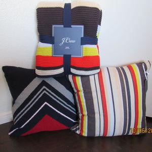 J.Crew Multistripe Blanket Throw Pillow Covers 3pc